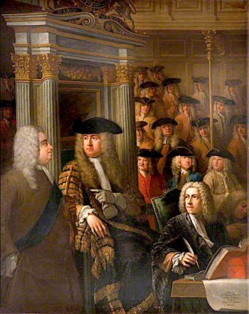 Speaker Arthur Onslow Calling upon Sir Robert Walpole to Speak in the House of Commons | James Thornhill | oil painting