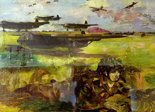 Exercise Mush -  Gliders Land on a Captured Airfield and Paratroops Surround the Field... | Albert Richards | oil painting