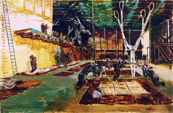Kilkennys Circus -  Parachute Training School Paratroops Undergoing Synthetic Training | Albert Richards | oil painting
