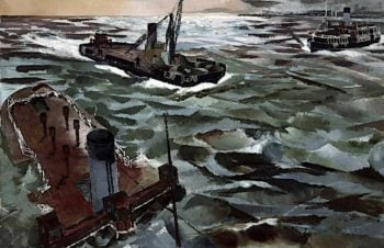 Seacombe Ferry in Wartime   Albert Richards   oil painting