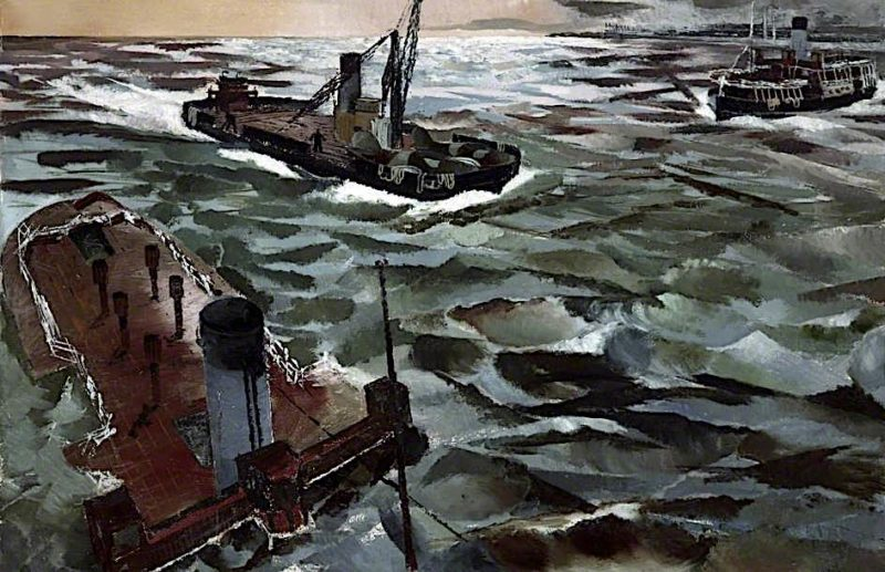 Seacombe Ferry in Wartime | Albert Richards | oil painting