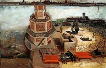 A Searchlight Battery | Albert Richards | oil painting