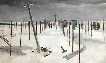 Sappers Erecting Pickets in the Snow   Albert Richards   oil painting