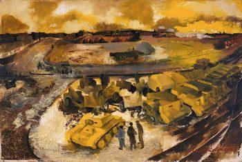 The Industrial Battle -  Tanks Ready for Shipment Overseas   Albert Richards   oil painting