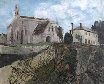 Inglesham Church and Rectory   Albert Richards   oil painting