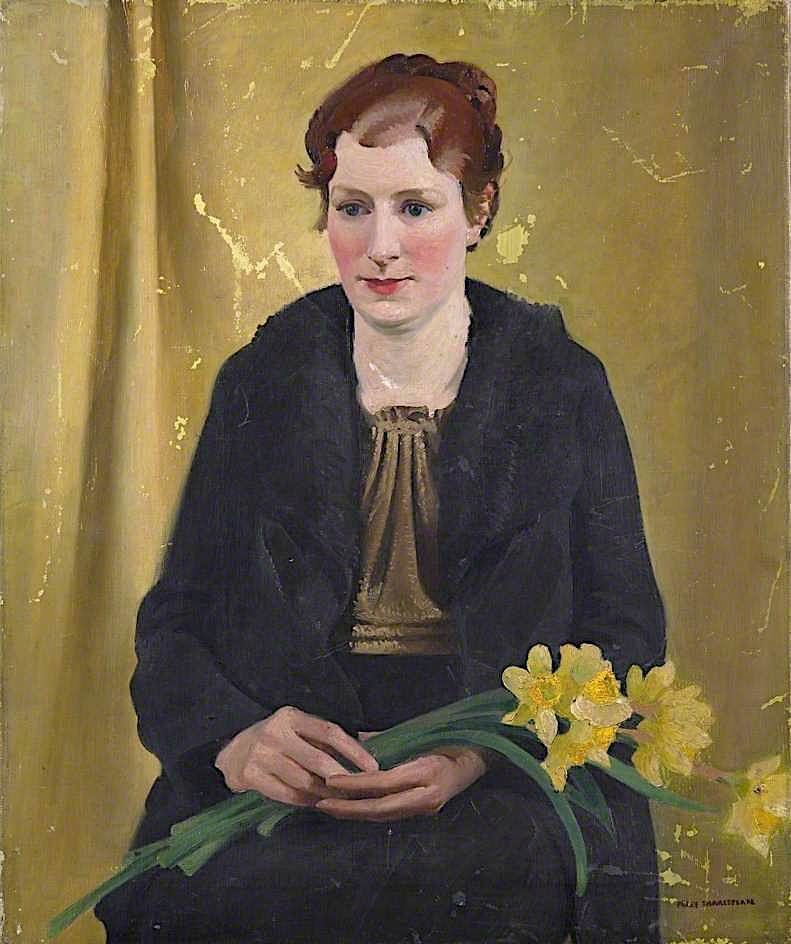 Girl with Daffodils | Percy Shakespeare | oil painting