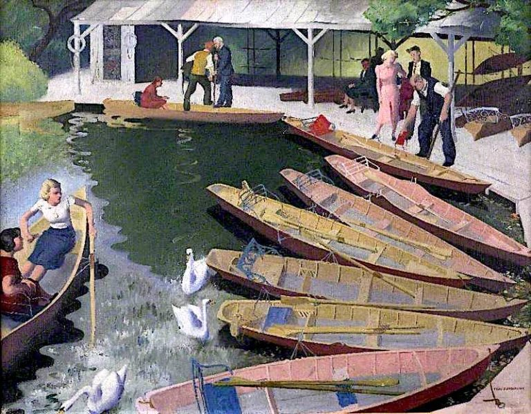 The Boat Shed | Percy Shakespeare | oil painting