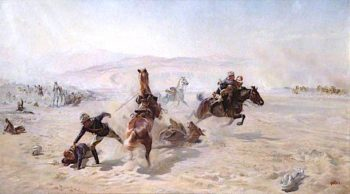 Rescuing the Wounded under Fire | Elizabeth Southerden Thompson Butler | oil painting