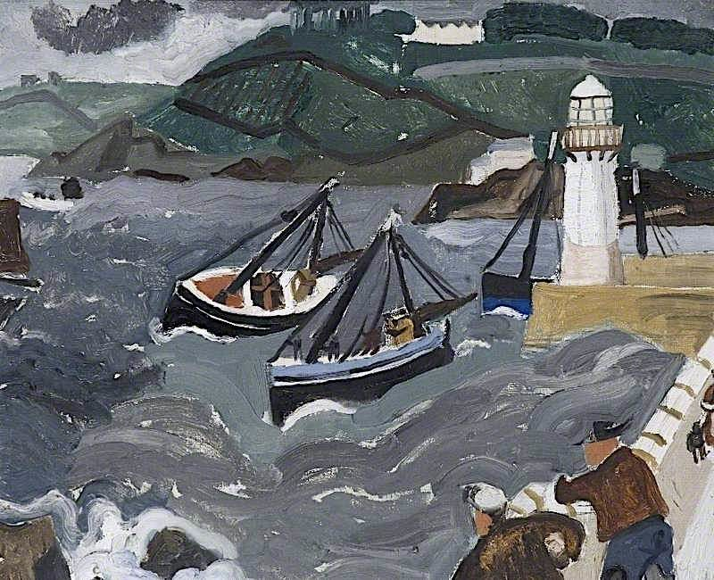 Harbor in Hills   Christopher Wood   oil painting