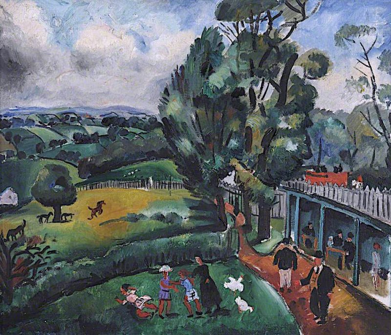 Landscape with Figures   Christopher Wood   oil painting