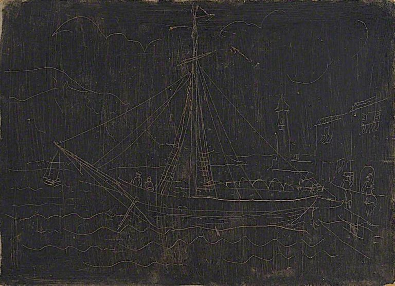 Ship in Harbour | Christopher Wood | oil painting