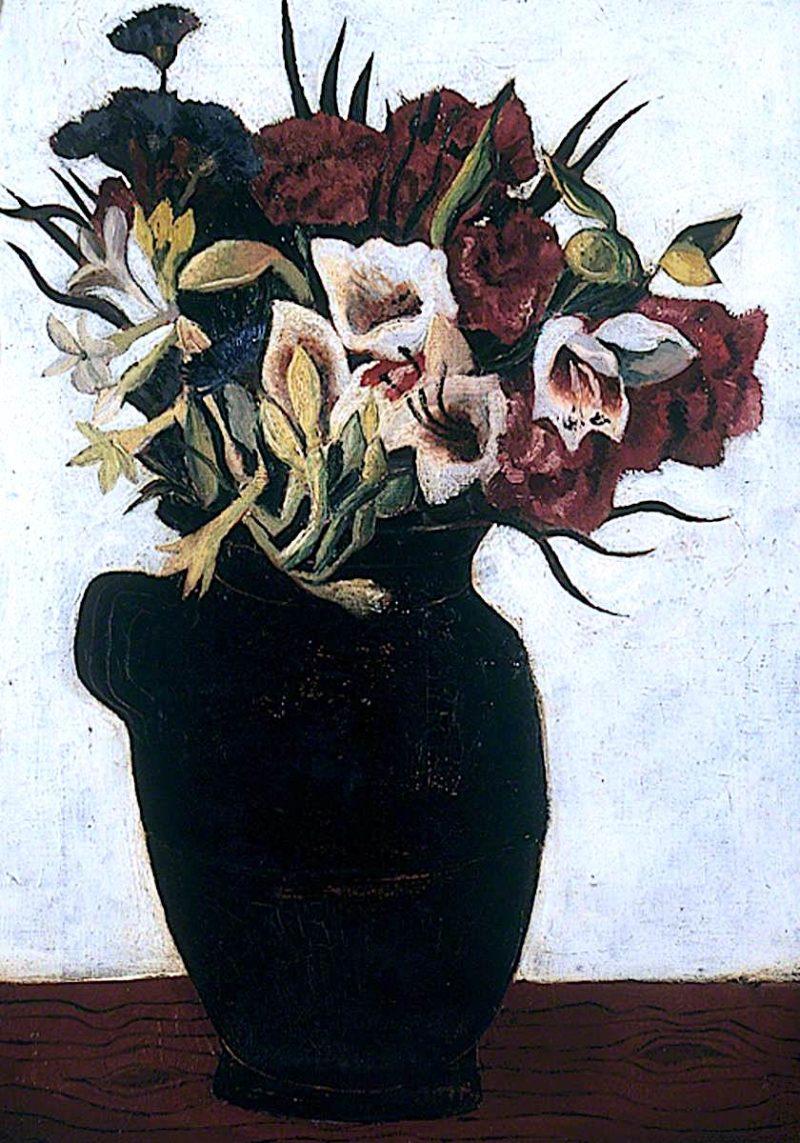 Flowers in a Black Jug   Christopher Wood   oil painting