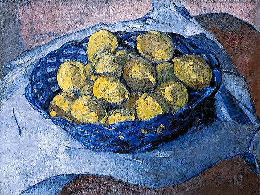 Lemons in a Blue Basket | Christopher Wood | oil painting
