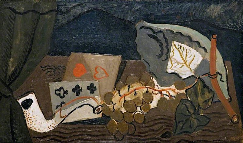 Still Life with Cards and Pipe   Christopher Wood   oil painting