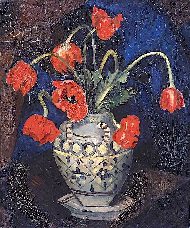 Poppies in a Decorated Jar   Christopher Wood   oil painting