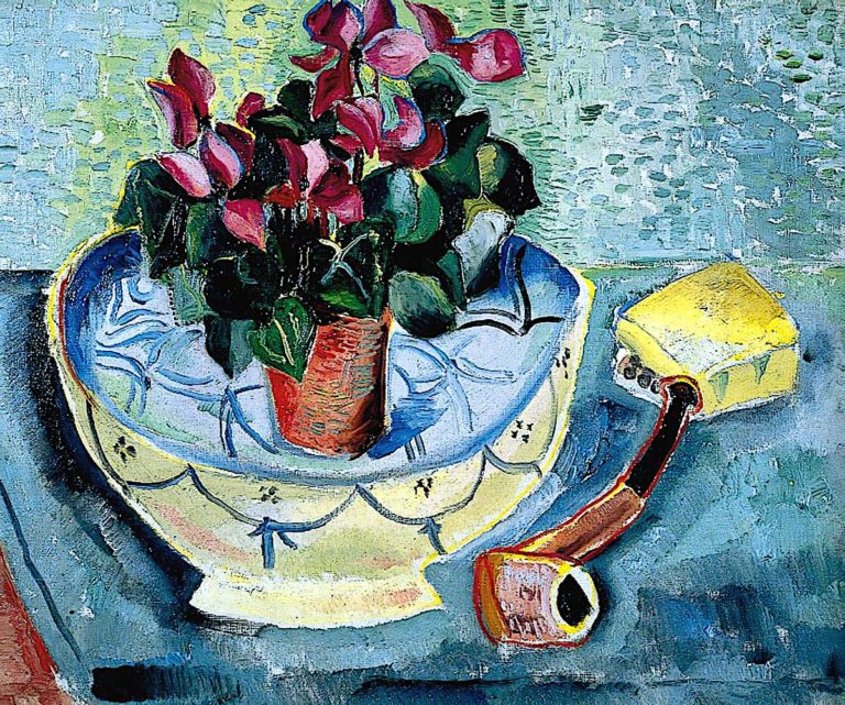 Cyclamen in a Bowl with a Pipe | Christopher Wood | oil painting