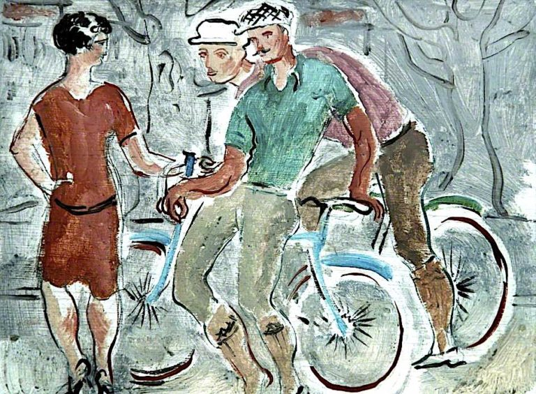 French Cyclist with a Girl | Christopher Wood | oil painting
