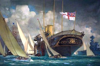 Royal Yacht at Cowes | Kenneth Denton Shoesmith | oil painting