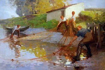 Salmon Fishing on the Tweed   James Wallace   oil painting