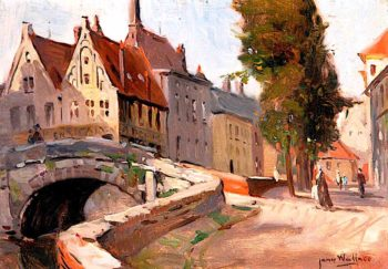 Street with Bridge and Trees | James Wallace | oil painting