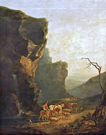 Mountainous Landscape with Herdsman on a Donkey Driving Cattle | Samuel Williamson | oil painting