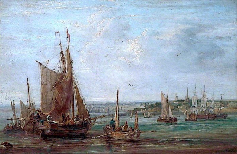 Fishing Boats on the Mersey   Samuel Williamson   oil painting