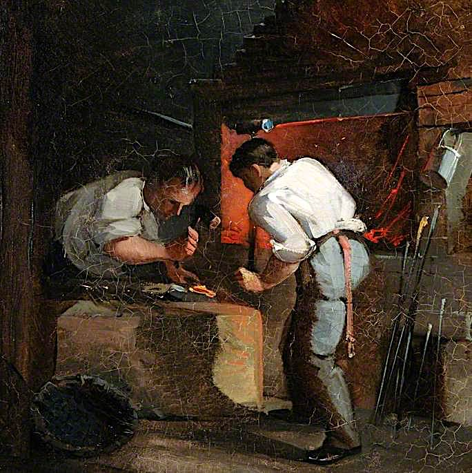 A Blacksmiths Shop | Godfrey Sykes | oil painting