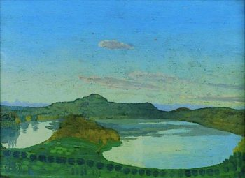 The Blue Pool   Derwent Lees   oil painting