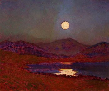 Cregennan Lake by Moonlight | Christopher Williams | oil painting