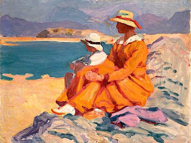 Family on Barmouth Island | Christopher Williams | oil painting