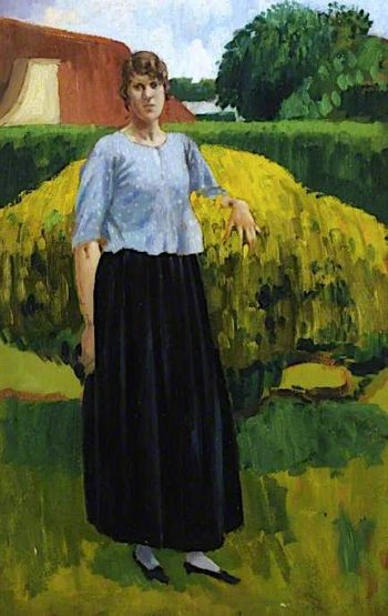 A Girl Standing by a Hay Cart | Derwent Lees | oil painting