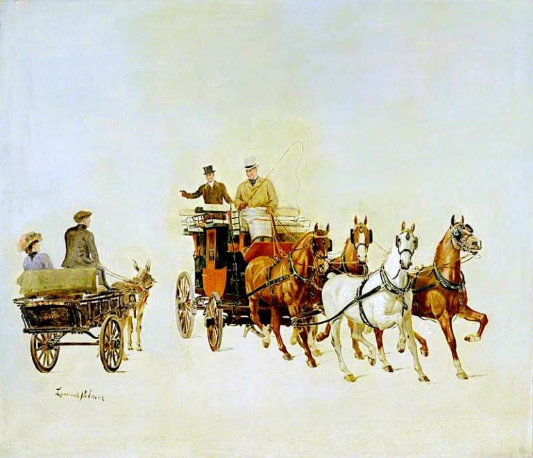 A Dog Cart and Stage Coach at Olympia