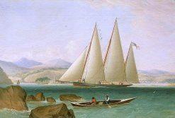 A Bermudian Schooner Yacht Offshore | John Lynn | oil painting
