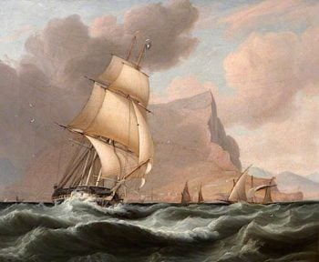 A Frigate sailing south from Gibraltar | John Lynn | oil painting