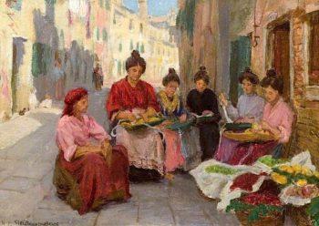 Girls Threading Beads   Woodbine Kendall Hinchliff   oil painting