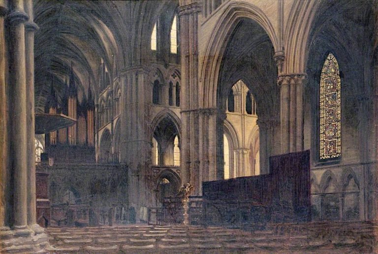 Dusk in Lincoln Cathedral   Woodbine Kendall Hinchliff   oil painting