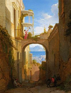 Mediterranean Bay Seen through an Arch | Penry Williams | oil painting