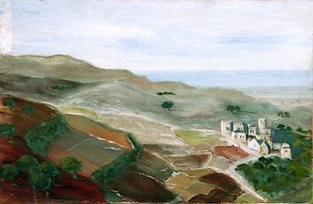 Landscape with a Hillside Town near the Sea | Caroline Emily Gray Hill | oil painting