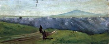 Mountainous Landscape with Figures and a Distant Mount Tabor | Caroline Emily Gray Hill | oil painting