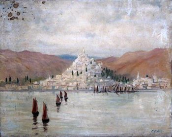 Landscape with a Hillside Town and Mountains Overlooking Water and Boats | Caroline Emily Gray Hill | oil painting