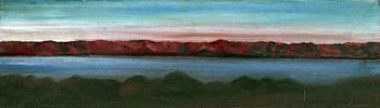 Landscape with a Lake Surrounded by Mountains and a Pink Sky | Caroline Emily Gray Hill | oil painting
