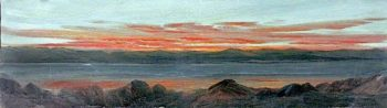 Landscape with a Lake Surrounded by Mountains at Sunset | Caroline Emily Gray Hill | oil painting