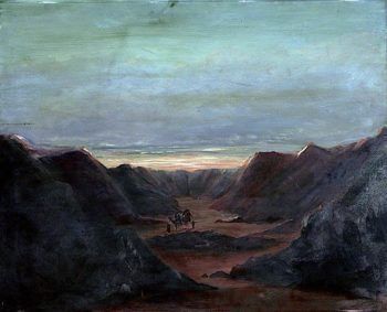 Mountainous Landscape with Camel Riders in a Valley at Sunset | Caroline Emily Gray Hill | oil painting