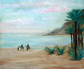 Landscape with Mountains and Camel Riders on a Shore | Caroline Emily Gray Hill | oil painting