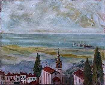 European Coastal Town Looking Out to Sea | Caroline Emily Gray Hill | oil painting