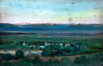 Landscape with a Village and a River in a Green Valley with Distant Mountains | Caroline Emily Gray Hill | oil painting