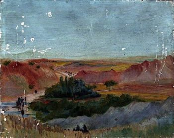 Mountainous Desert Landscape with an Oasis and Figures | Caroline Emily Gray Hill | oil painting