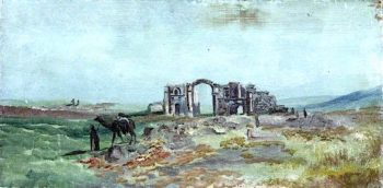Landscape with Ruins and Figures | Caroline Emily Gray Hill | oil painting