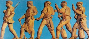 Frieze with Figures (polyptych)   Godfrey Sykes   oil painting