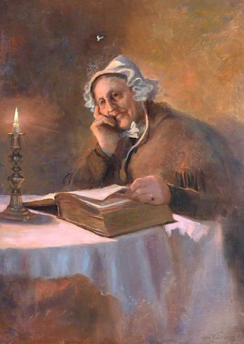 Portrait of an Old Woman Reading the Bible by Candlelight | Arthur Netherwood | oil painting
